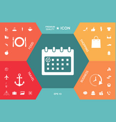calendar icon with check mark vector image