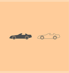 car dark grey set icon vector image