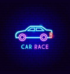 car race neon label vector image