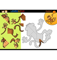 Cartoon monkey puzzle game vector
