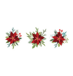 Christmas set with poinsettia flowers vector