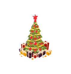christmas tree 3d flat vector image