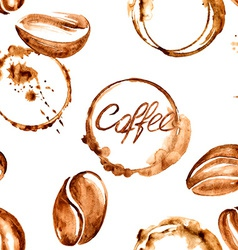 Coffee watercolor seamless pattern vector image