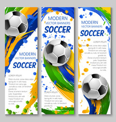 colorful soccer banners for sport design vector image vector image