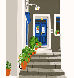 common south european street tiny and cozy with a vector image