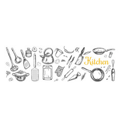 cooking classes and kitchen utensil set vector image