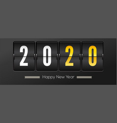 countdown to new year 2020 retro flip clock on vector image