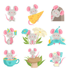 cute mouse in different situations set funny vector image