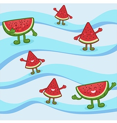 Cute Watermelon Fruit Slice Mascot on Wave vector