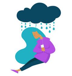 Depression teen stress sad mood girl listening vector