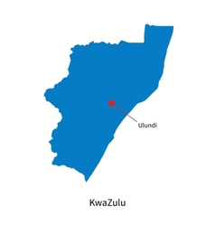 Detailed map of KwaZulu and capital city Ulundi vector