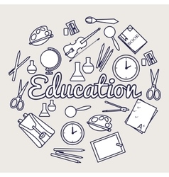 Education circle concept Back to school elements vector