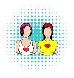 Female couple icon comics style vector