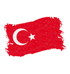 flag of turkey grunge abstract brush stroke vector image