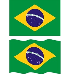 Flat and waving Brazilian Flag vector