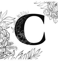 Flower alphabet letter c pattern vector