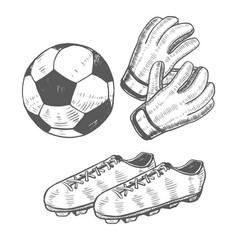 Football ball gloves and shoes in hand-drawn style vector