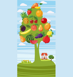 Fruits tree vertical banner cartoon style vector