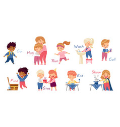 Funny kids engaged in different activities vector