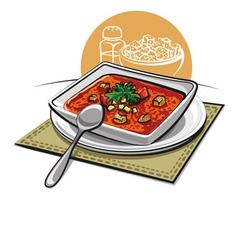 gazpacho soup with croutons vector image