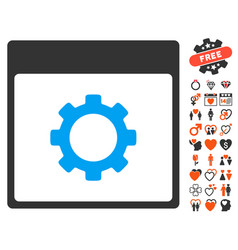 Gear options calendar page icon with dating bonus vector
