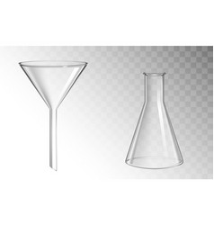 glass funnel and flask glassware for chemical lab vector image