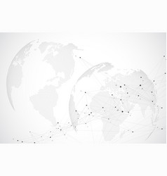 Global network with world map abstract vector
