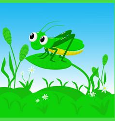 Grasshopper sitting in the grass vector