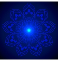 Hand drawn shine blue flower mandala over dark vector