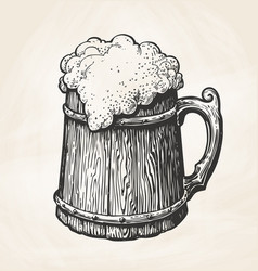 Hand-drawn vintage wooden mug with foam sketch vector