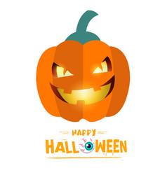 happy halloween smiling pumpkin background vector image