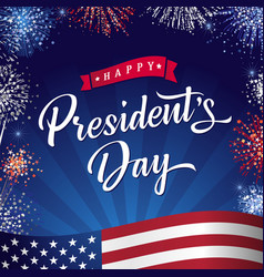 happy presidents day banner with flag and salute vector image