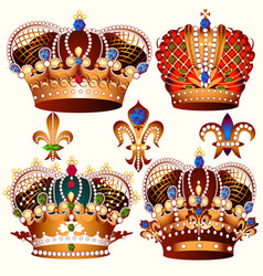Heraldic collection of colored crowns decorated vector