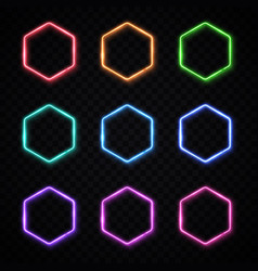 hexagon neon banners set glowing electric borders vector image