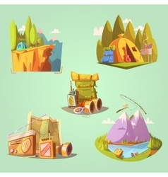 Hiking Cartoon Set vector image