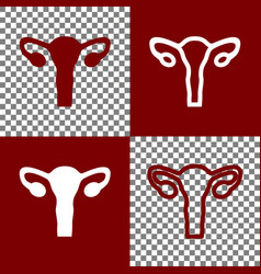 Human anatomy uterus sign bordo and vector
