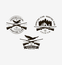 hunting club set labels hunt logo vector image