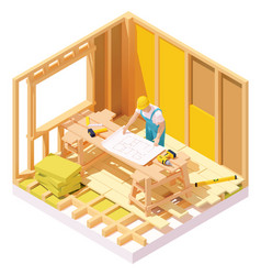 Isometric house construction vector