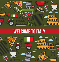 Italian symbols and text sample in block poster vector