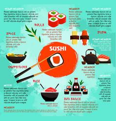Japanese restaurant sushi menu poster vector