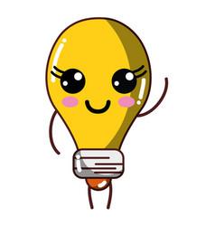 Kawaii cute happy bulb energy vector