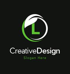 Letter l circle leaf creative business logo vector