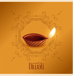 Lovely happy diwali diya design template vector