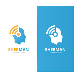 Man and wifi logo combination face and vector