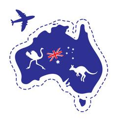 Map australia silhouette flag ostrich kangaroo vector