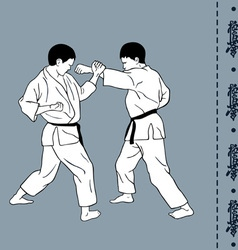 Men demonstrate karate hieroglyph of karate vector