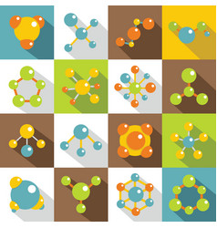 molecule icons set flat style vector image