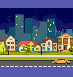 night city cartoon with road vector image