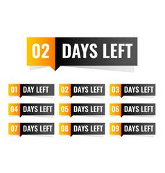 Number of days left sticker design vector