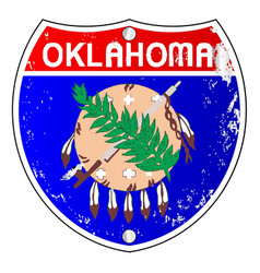 Oklahoma flag icons as interstate sign vector